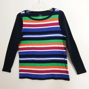 Talbots primary color striped cotton shirt top